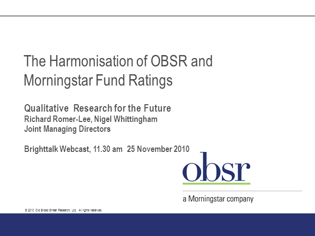 The Harmonisation of OBSR and Morningstar Fund Ratings