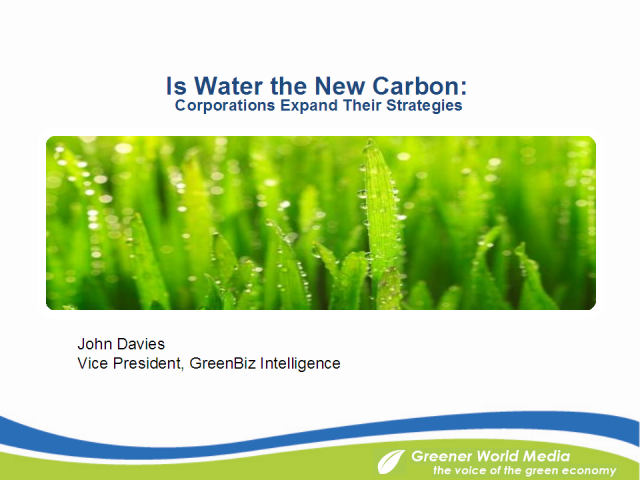 Is Water the New Carbon? Corporations Expand Their Strategies