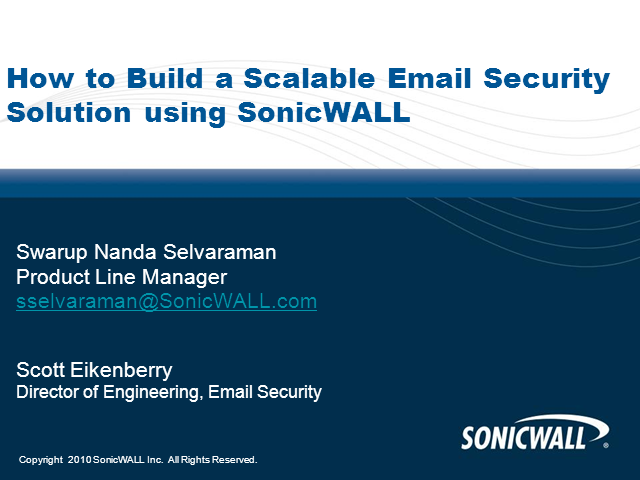 How to Build a Scalable Email Security Solution using SonicWALL