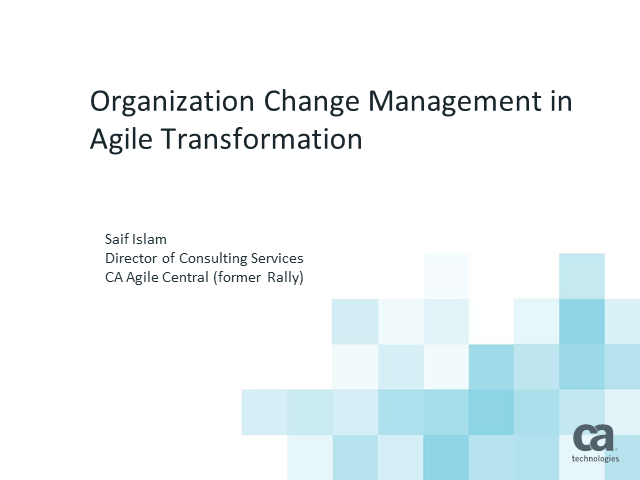 Organization Change Management in Agile Transformation