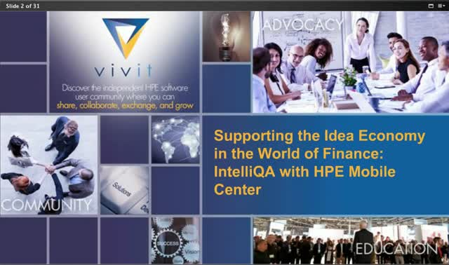 Supporting the Idea Economy in Finance: IntelliQA with HPE Mobile Center