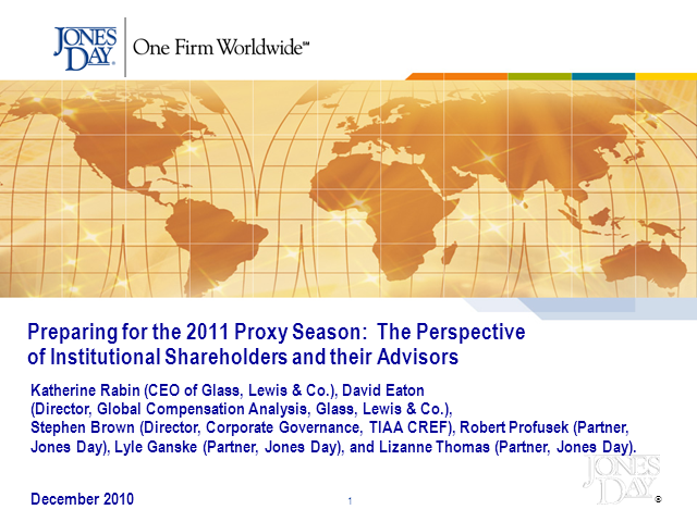 Preparing for the 2011 Proxy Season: