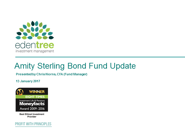 EdenTree Amity Sterling Bond Fund Update