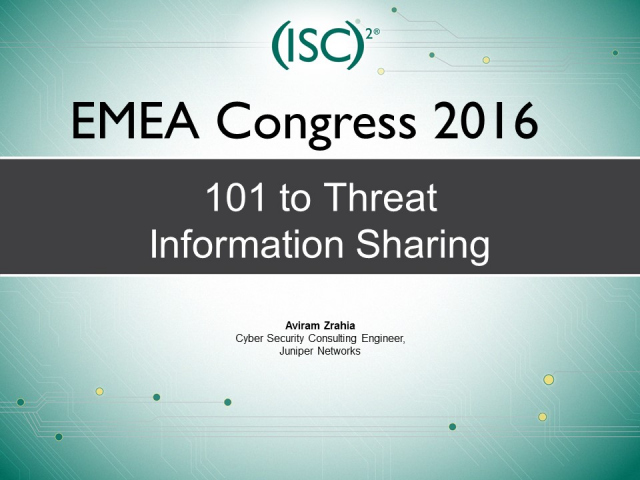 101 to Threat Information Sharing