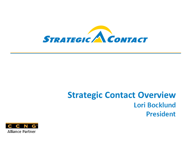 Introducing CCNG partner - Strategic Contact