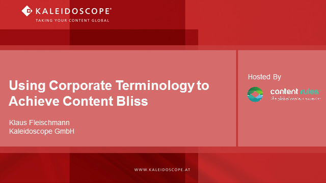 Using Corporate Terminology to Achieve Content Bliss