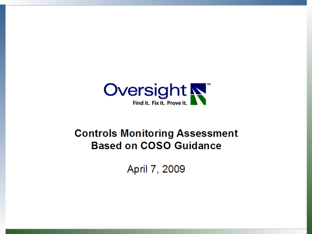 Controls Monitoring Assessment Based on COSO Guidance