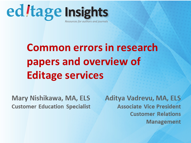 Common errors in research papers and overview of Editage author services