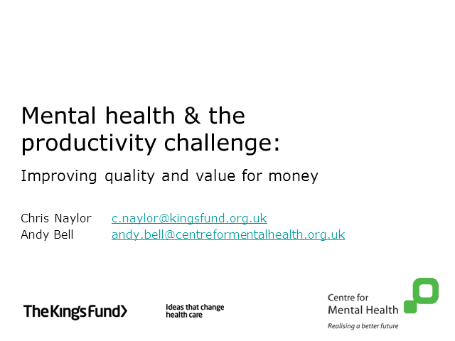Mental health and NHS productivity