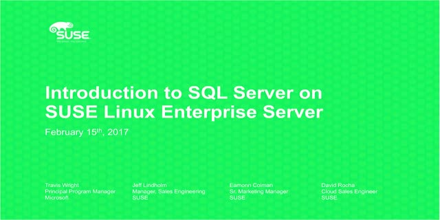 Introduction to SQL Server on SUSE Linux Enterprise Server