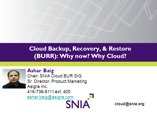 Cloud Backup and Recovery: Why now? Why Cloud?