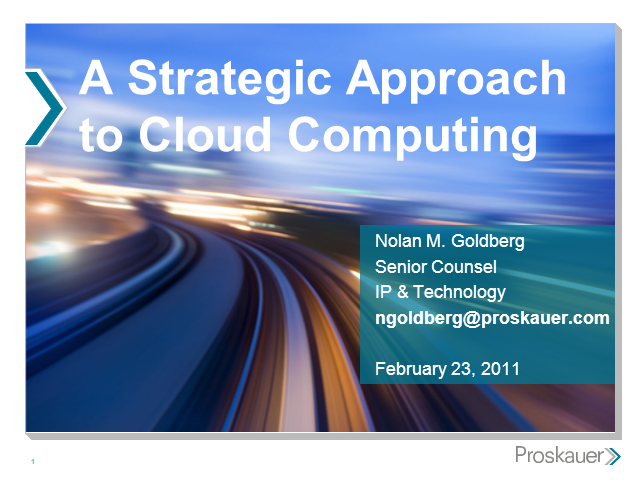 A Strategic Approach to the Law and Cloud Computing
