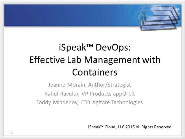 iSpeak DevOps: Effective Lab Management with Containers