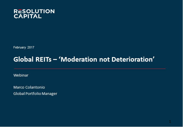 REITs: Moderation not Deterioration