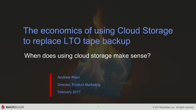 The economics of using Cloud Storage to replace LTO tape backup