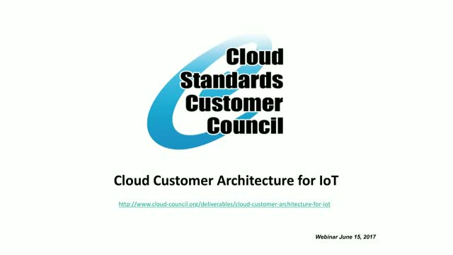 Cloud Customer Architecture for IoT