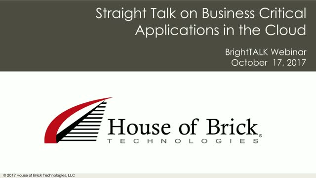 Straight Talk on Business Critical Applications in the Cloud