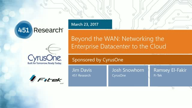 Beyond the WAN: Networking the Enterprise Data Center to the Cloud