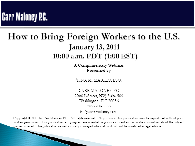 How to Bring Foreign Workers to the U.S.