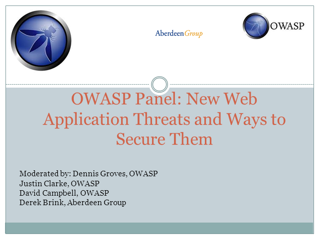OWASP Panel: New Web Application Threats and Ways to Secure Them