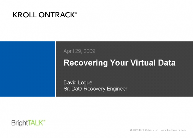 Recovering Your Virtual Data