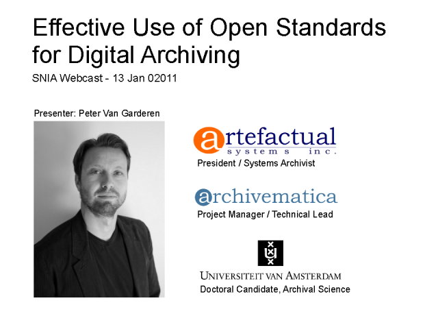 Effective Use of Open Standards for Digital Archiving