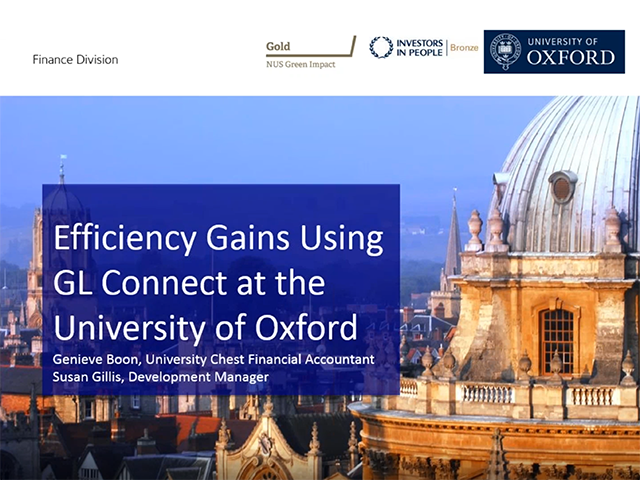 Efficiency gains using GL Connect at the University of Oxford
