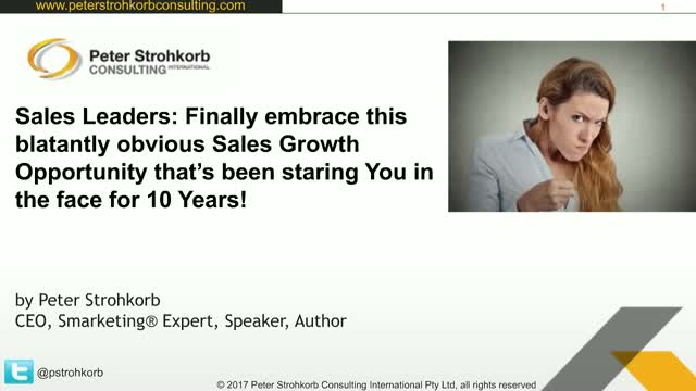 Sales Leaders: Finally embrace this blatantly obvious Sales Growth Opportunity !