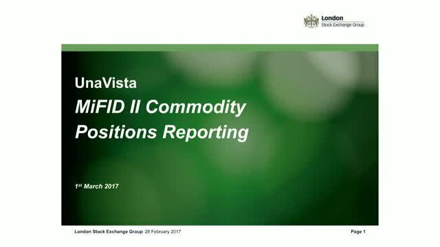MiFID II Commodities Positions Reporting Webinar