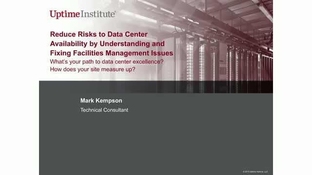 Reduce Risks to Data Center Availability by Fixing Facilities Management Issues