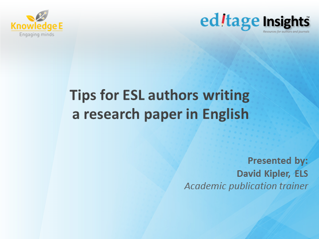 Writing a research paper in English: Tips for ESL authors