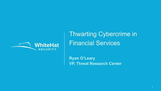 Thwarting Cybercrime in the Financial Services Sector