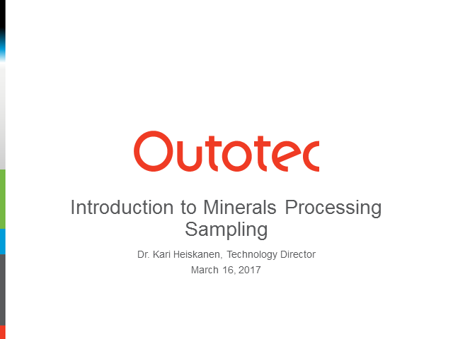 Introduction to minerals processing sampling