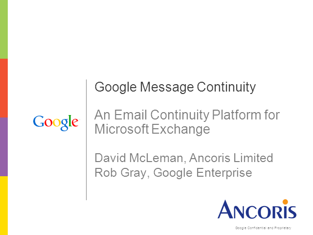 Google as an Email Continuity Platform for Microsoft Exchange