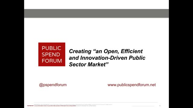 """Creating """"an Open, Efficient and Innovation-Driven Public Sector Market"""