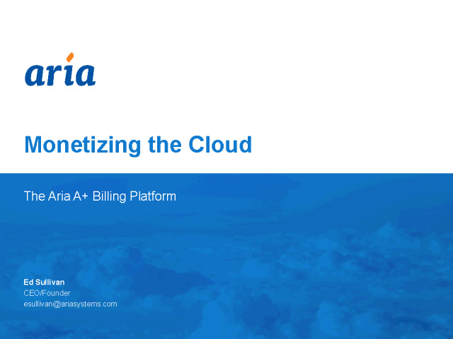 Monetizing the Cloud