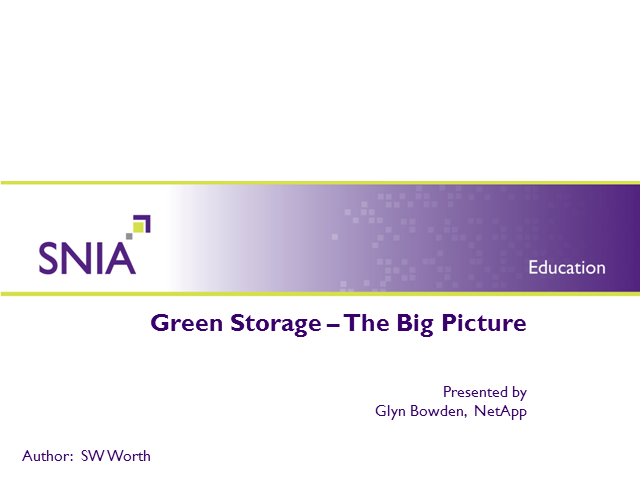 Green Storage – The Big Picture