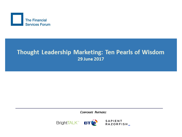 Thought Leadership Marketing: Ten Pearls of Wisdom