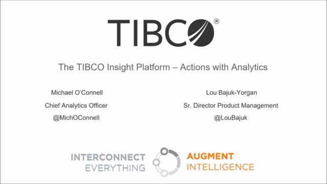 TIBCO Insight Platform - Actions with Analytics