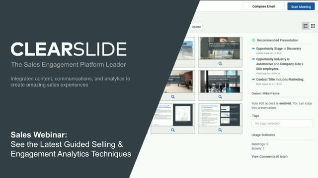 Sales Webinar: See the Latest Guided Selling & Engagement Analytics Techniques