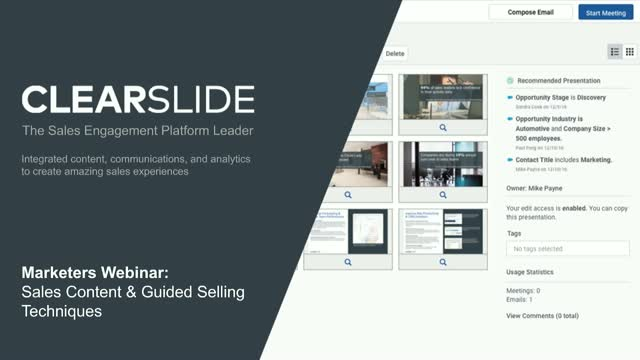 Marketers Webinar: See the Latest Sales Content & Guided Selling Techniques