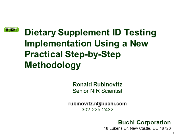 Dietary supplement ID testing implementation