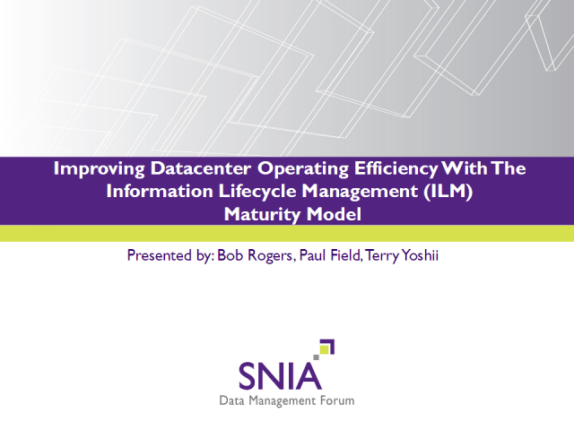 ILM Maturity Model: Improving Data Center Operating Efficiency