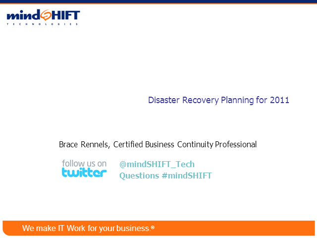 Disaster Recovery Planning for 2011