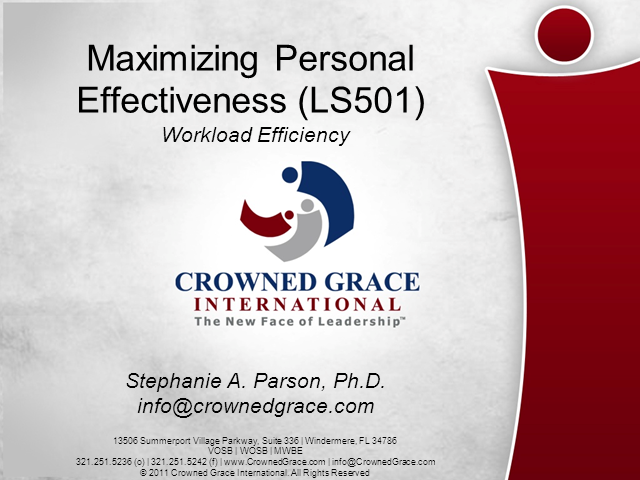 Maximizing Personal Effectiveness (LS501) - Workload Efficiency