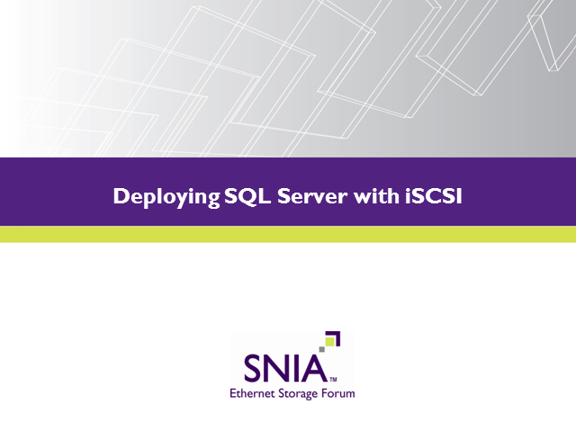 Deploying SQL Server with iSCSI