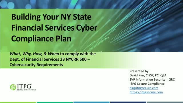 Building Your New York State Financial Services Cyber Compliance Plan