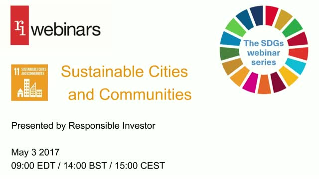 SDG Webinar Series: SUSTAINABLE CITIES & COMMUNITIES