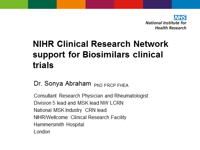 NIHR Clinical Research Network support for Biosimilars clinical trials