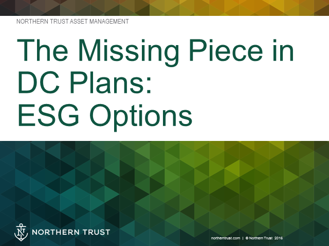 The Missing Piece in DC Plans: ESG Options